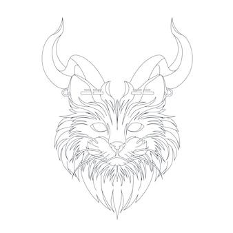 Illustration dessinée à la main de chat