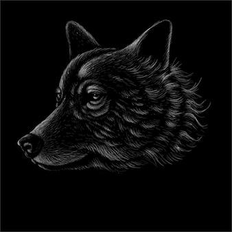 Illustration dessinée à la main de chien ou de loup