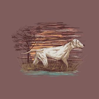 Illustration dessinée à la main d'un chien marchant dans le marais