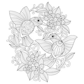 Illustration dessinée à la main des colibris et des fleurs