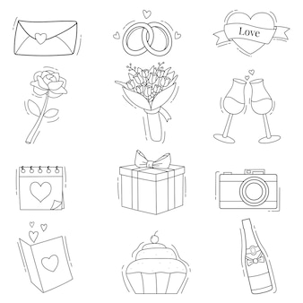 Illustration dessinée à la main de la collection d'éléments de mariage