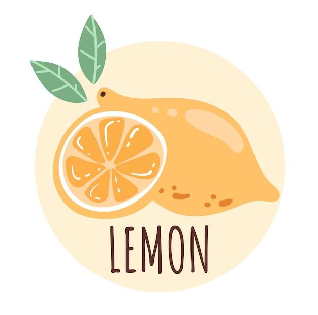 Illustration dessinée à la main de conception graphique de demi-tranche de citron