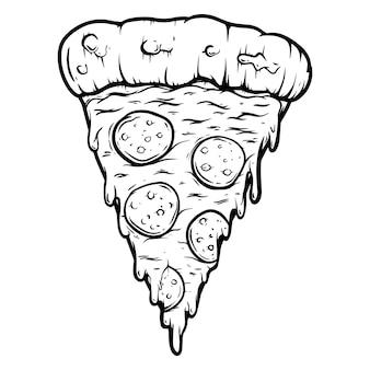 Illustration dessinée à la main de coupe de pizza isolée sur fond blanc. élément de design pour affiche, carte, bannière, t-shirt, emblème, signe. illustration vectorielle