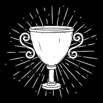 Illustration dessinée à la main avec une coupe trophée et des rayons divergents.
