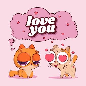 Illustration dessinée à la main d'un couple de chaton mignon amoureux