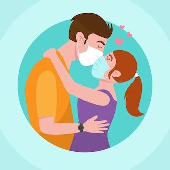 Illustration dessinée à la main avec des couples s'embrassant avec un masque de covid