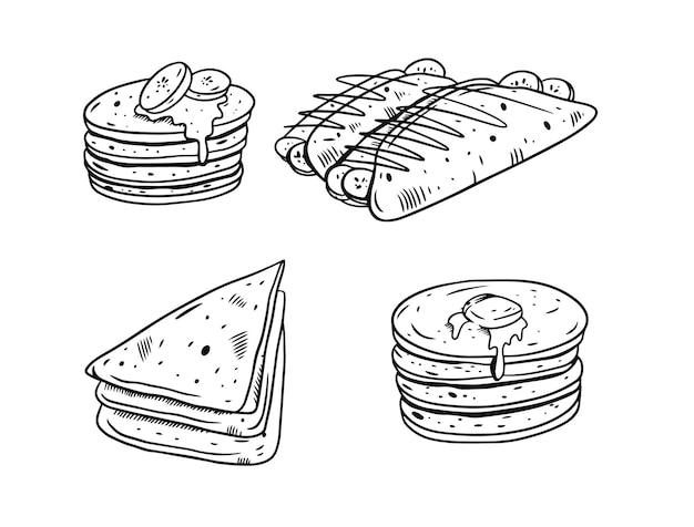Illustration dessinée à la main de crêpes