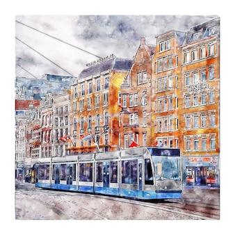 Illustration dessinée à la main de croquis aquarelle amsterdam pays-bas