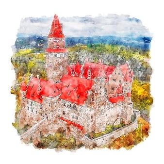 Illustration dessinée à la main de croquis aquarelle du château de hrad bouzov