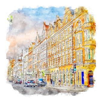 Illustration dessinée à la main de croquis aquarelle de londres royaume-uni