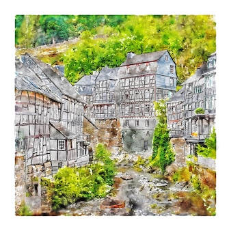 Illustration dessinée à la main de croquis aquarelle de monschau allemagne