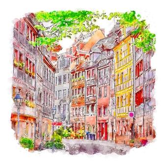 Illustration dessinée à la main de croquis aquarelle de nuremberg allemagne