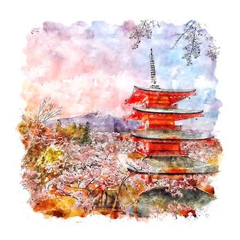 Illustration dessinée à la main de croquis aquarelle de la pagode chureito japon