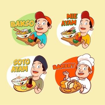 Illustration dessinée à la main de la cuisine indonésienne