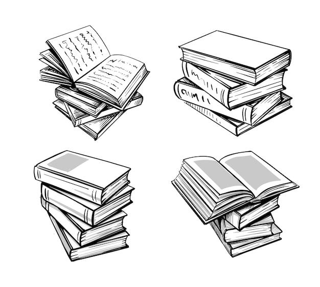 Illustration dessinée à la main dans des livres de style croquis.