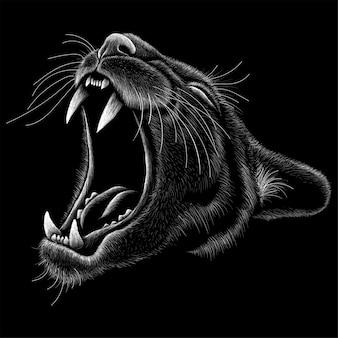 Illustration dessinée à la main dans le style de craie du lion de montagne