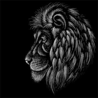 Illustration dessinée à la main dans le style de craie du lion
