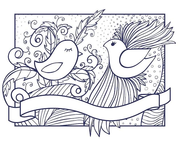 Illustration dessinée à la main de deux oiseaux avec ornement abstrait et bannière de ruban
