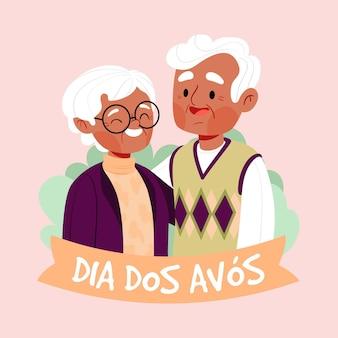 Illustration dessinée à la main dia dos avós