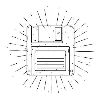 Illustration dessinée à la main avec disquette et rayons divergents.