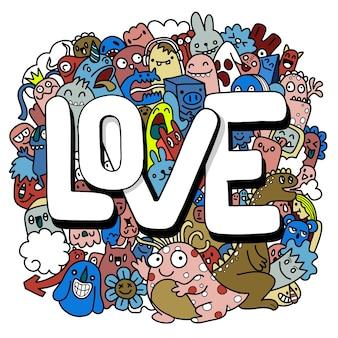 Illustration dessinée à la main de doodle kawaii, monstres de doodle, concept d'amour, illustration pour livre de coloriage, chacun sur un calque séparé.