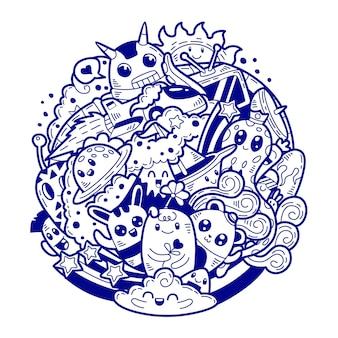 Illustration dessinée à la main de doodle mignon