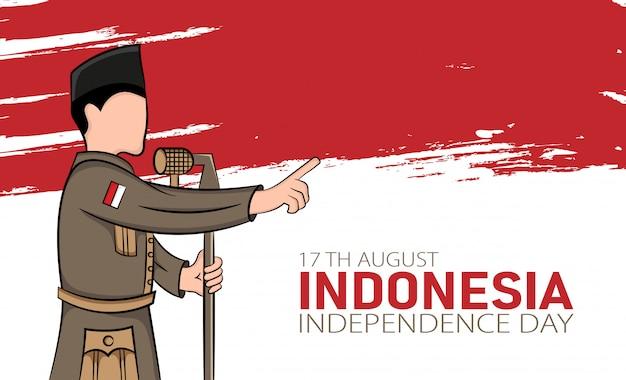 Illustration Dessinée à La Main Du Concept De Carte De Voeux Pour Le Jour De L'indépendance De L'indonésie. Vecteur Premium