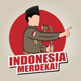 Illustration dessinée à la main du concept de carte de voeux pour le jour de l'indépendance de l'indonésie.