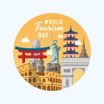 Illustration dessinée à la main du concept de la journée mondiale du tourisme.