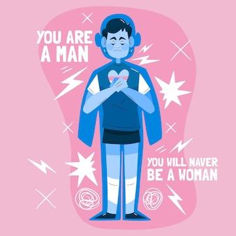 Illustration dessinée à la main du concept de transphobie d'arrêt