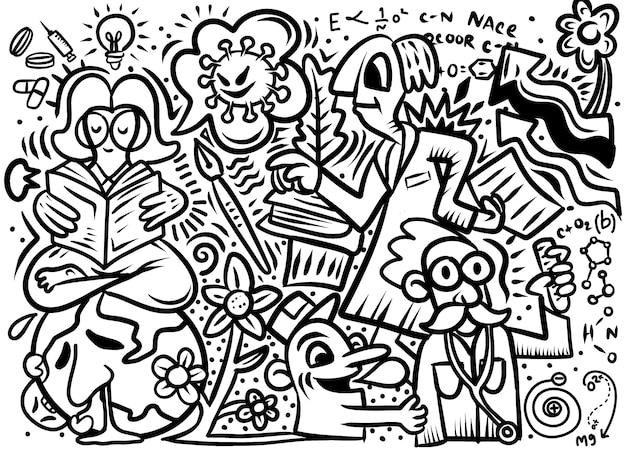 Illustration dessinée à la main du virus doodle of corona, illustration en noir et blanc pour cahier de coloriage
