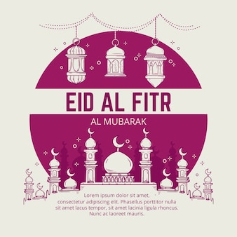 Illustration dessinée à la main eid al-fitr eid mubarak