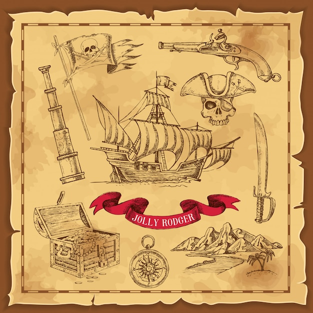 Illustration dessinée à la main des éléments de pirate