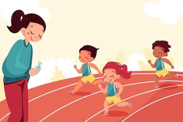 Illustration dessinée à la main d'enfants en classe d'éducation physique