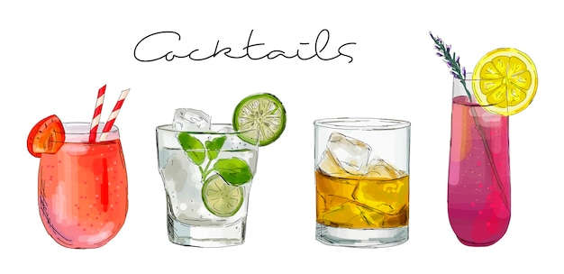 Illustration dessinée à la main de l'ensemble des cocktails.
