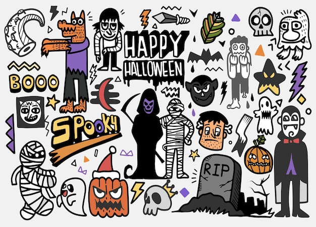 Illustration dessinée à la main de l'ensemble de halloween doodle, dessin d'outils de ligne illustrateur, design plat
