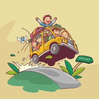 Illustration dessinée à la main de famille heureuse voyageant en voiture vector art design plat