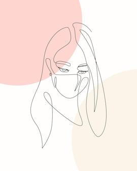 Illustration dessinée à la main d'une femme au design minimal portant un masque de protection dessin de style une ligne
