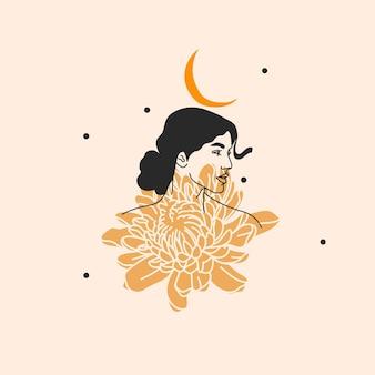 Illustration dessinée à la main, femme boho avec des fleurs et des dessins au trait sacré de la lune