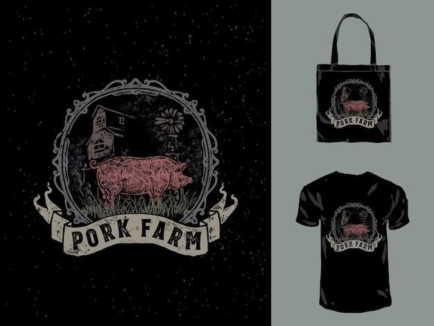 Illustration dessinée à la main de ferme de porc vintage