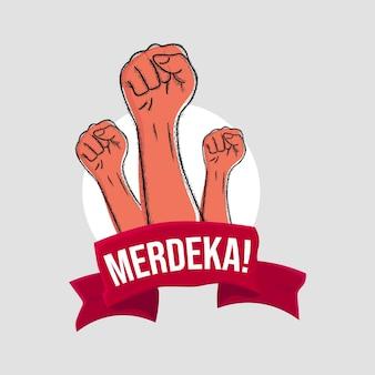 Illustration dessinée à la main de la fête de l'indépendance indonésienne vecteur premium