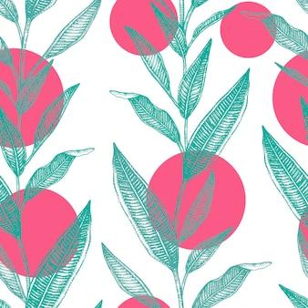 Illustration dessinée à la main de feuilles tropicales avec cercles