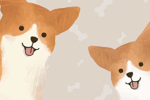 Illustration dessinée à la main de fond de chien corgi mignon