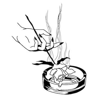 Illustration dessinée à la main de fumée et de cendrier de rose à la main