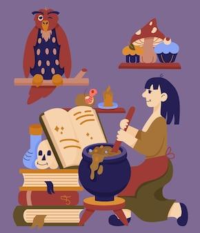 Illustration dessinée à la main d'halloween avec la sorcière et le chaudron le livre de sorts hibou et bougie