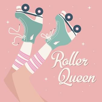 Illustration dessinée à la main avec des jambes féminines et des chaussettes de tube et des patins à roulettes rétro.