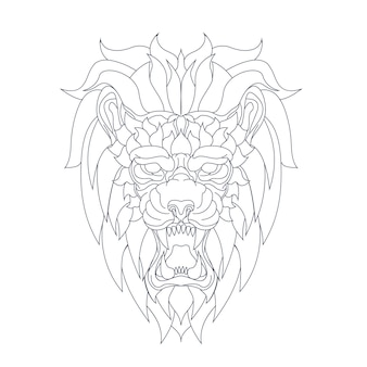 Illustration dessinée à la main de lion en colère