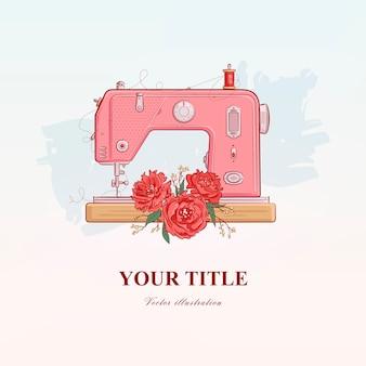 Illustration dessinée à la main de la machine à coudre et des fleurs