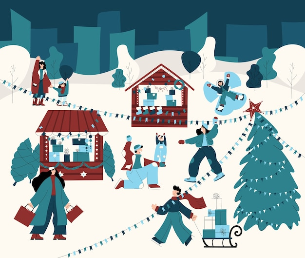 Illustration dessinée à la main d'un marché de noël avec des gens faisant du shopping jouant aux boules de neige avec leur famille s'amusant