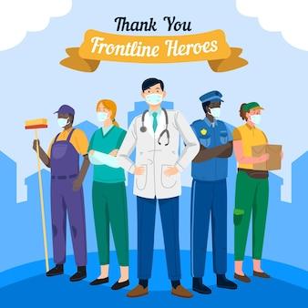 Illustration dessinée à la main merci les travailleurs essentiels
